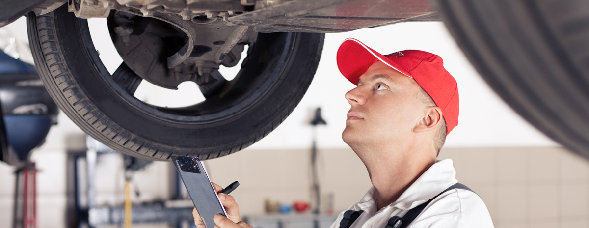 Technician undertaking Car MOT Testing